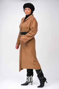 JOLLY -  miękki płaszcz, beżowy, OVERSIZE